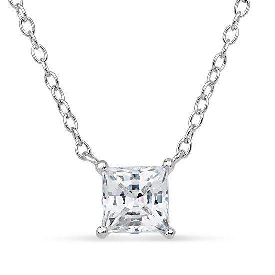 Sterling Silver & 18K Rose Gold over Silver Princess Cut 2 CT. T.W. Solitaire Necklace - Featuring Swarovski Zirconia