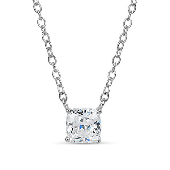 Sterling Silver & 18K Rose Gold Over Silver Cushion Cut 1 1/7 Ct. T.W. Solitaire Necklace - Featuring Swarovski Zirconia