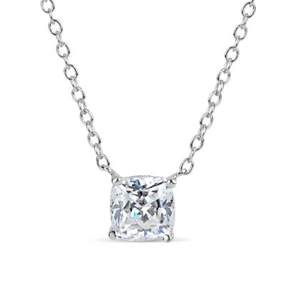 Sterling Silver & 18K Rose Gold over Silver Cushion Cut 2 CT. T.W. Solitaire Necklace - Featuring Swarovski Zirconia