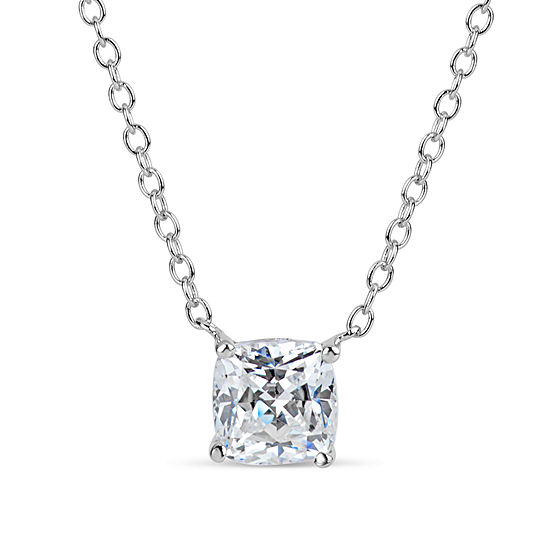 Womens 2 CT. T.W. White Zirconia Sterling Silver Square Pendant Necklace