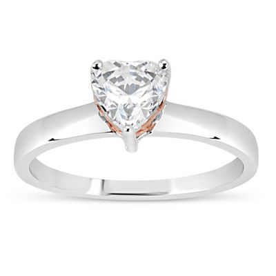 Sterling Silver 18K Rose Gold over Silver Heart Cut 1 58 CT TW