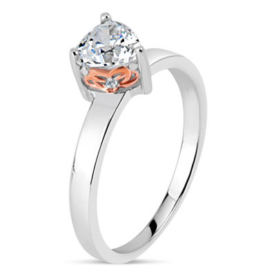 Sterling Silver & 18K Rose Gold over Silver Heart Cut 1 5/8 CT. T.W. Solitaire Ring - Featuring Swarovski Zirconia
