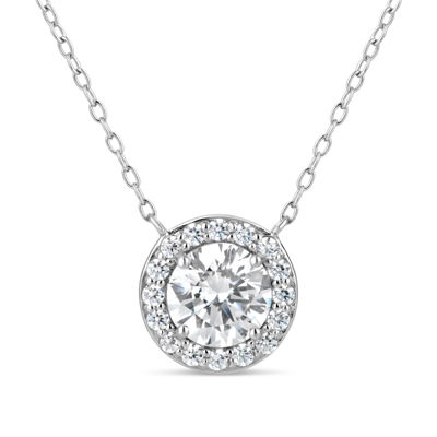 Sterling Silver 2 3/4 CT. T.W. Halo Necklace - Featuring Swarovski Zirconia