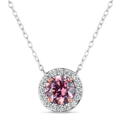 Sterling Silver & 18K Rose Gold Over Silver 2 3/4 CT. T.W. Halo Necklace - Featuring Swarovski Zirconia