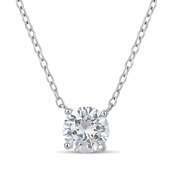 Sterling Silver & 18k Rose Gold Over Silver 1 3/4 CT. T.W. Solitaire Necklace Featuring Swarovski Zirconia