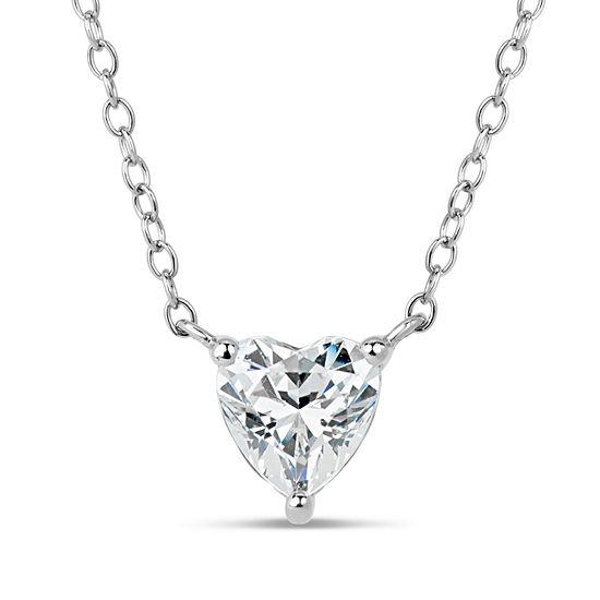 Sterling Silver Heart Pendant Necklace Featuring Swarovski Zirconia
