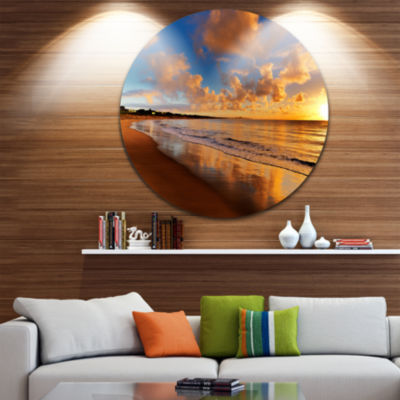 Design Art Colorful Sunset on the Beach LandscapeRound Circle Metal Wall Art