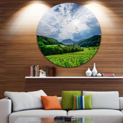Design Art Thunderstorm Weather over Vineyards Landscape Round Circle Metal Wall Art