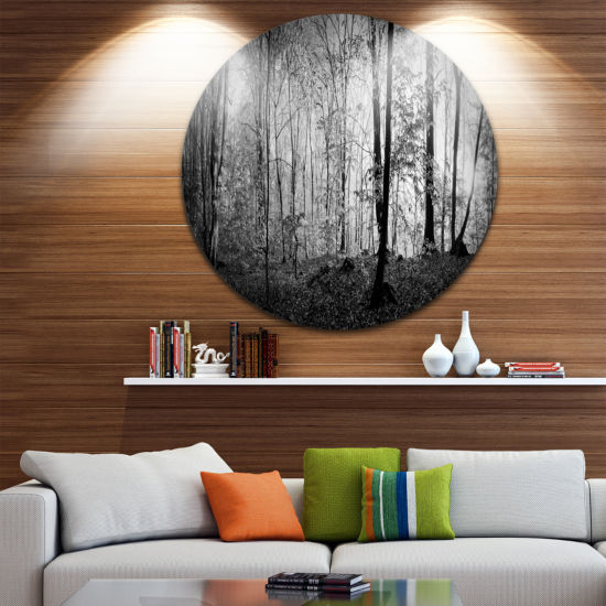 Design Art Morning in Thick Fall Forest LandscapeRound Circle Metal Wall Art