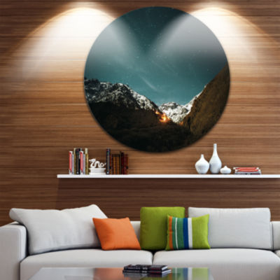Design Art Fire in Rugged Mountains Landscape Round Circle Metal Wall Art