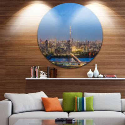 Design Art Tokyo City View Panorama Landscape Round Circle Metal Wall Art