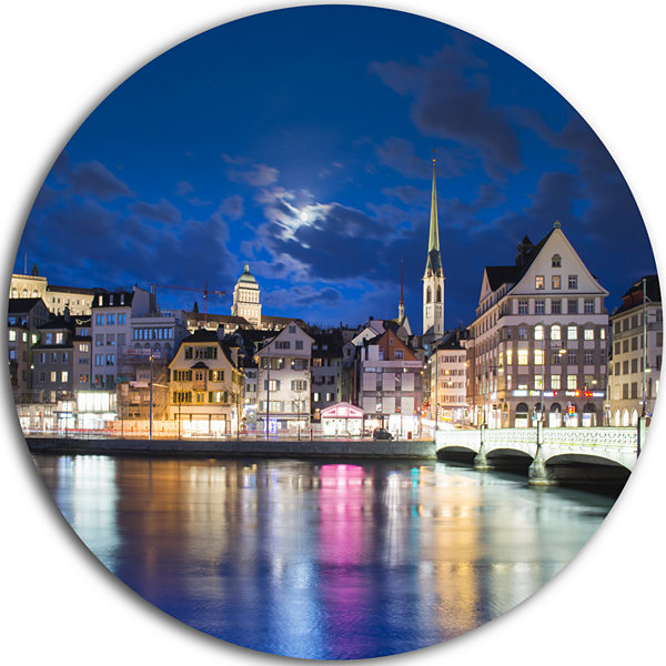 Design Art Scenic Panorama of Old Town Landscape Round Circle Metal Wall Art