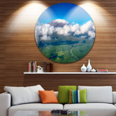Design Art Aerial View of Mount Kilimanjaro Landscape Round Circle Metal Wall Art