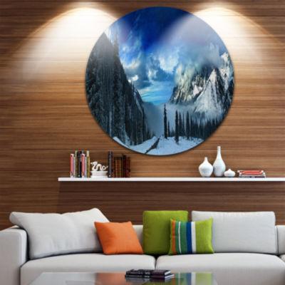 Design Art Panorama of Snowy Mountains Landscape Round Circle Metal Wall Art