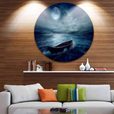 Design Art Boat Driftinga Away from the Past Landscape Round Circle Metal Wall Art