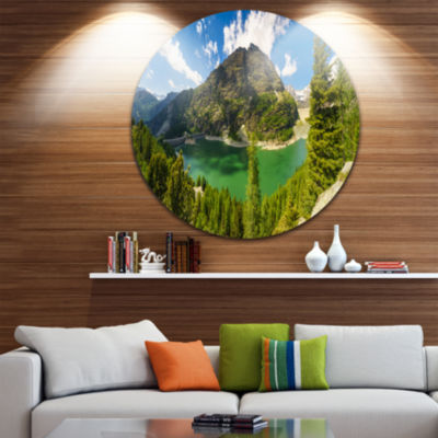 Design Art Greeny Alpine Reservoir Landscape RoundCircle Metal Wall Art