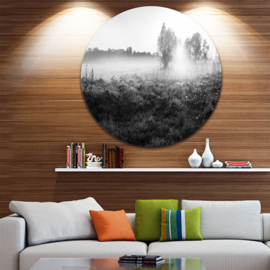Design Art Rural Meadow in Mist Landscape Round Circle Metal Wall Art