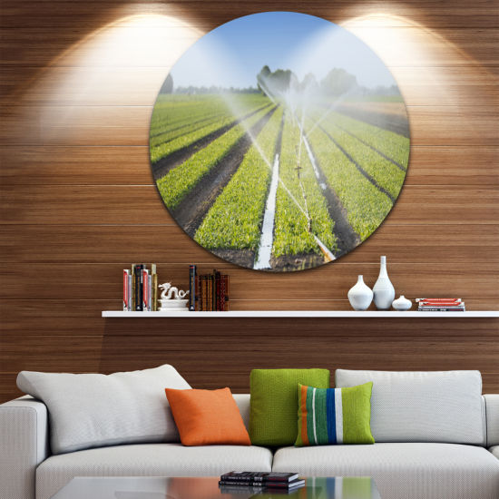 Design Art Beautiful View of Crops Watering Landscape Round Circle Metal Wall Art