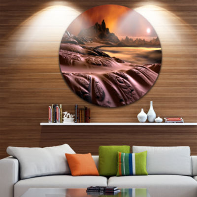 Design Art 3D Rendered Alien Planet Landscape Round Circle Metal Wall Art