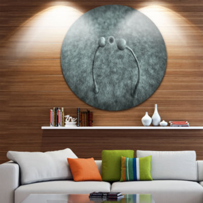 Design Art Fungus on Leather Surface Landscape Round Circle Metal Wall Art