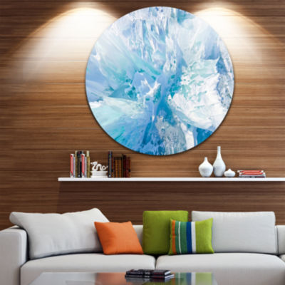 Design Art Blue Ice Hummocks Baikal Landscape Round Circle Metal Wall Art