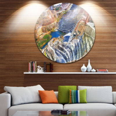 Design Art Impressive Mines and Canyon Landscape Round Circle Metal Wall Art