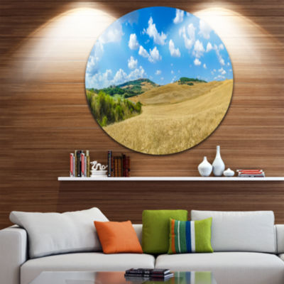 Design Art Town of Pienza Val d Orcia Italy Landscape Round Circle Metal Wall Art