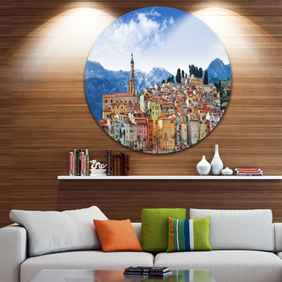Design Art Colors of Southern Europe Landscape Round Circle Metal Wall Art