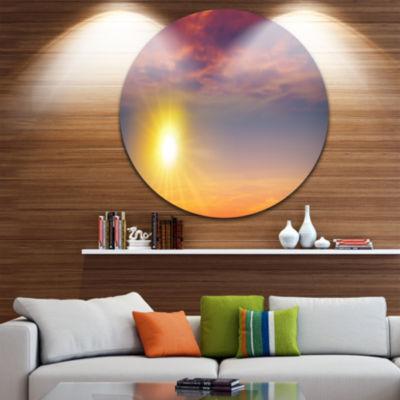 Design Art Beautiful Panoramic Sunset Landscape Round Circle Metal Wall Art