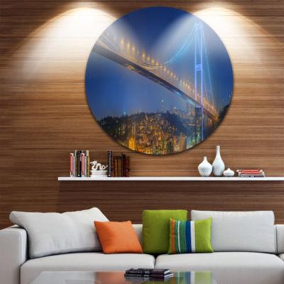 Design Art Bosphorus Bridge at Night Istanbul Landscape Round Circle Metal Wall Art