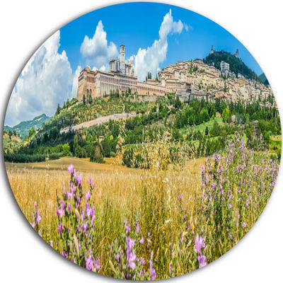 Design Art Ancient Town of Assisi Panorama Landscape Round Circle Metal Wall Art