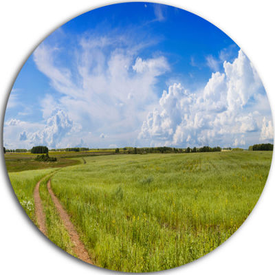 Design Art Road in Field with Green Grass Landscape Round Circle Metal Wall Art
