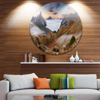 Design Art Beautiful Summer Panorama Landscape Round Circle Metal Wall Art