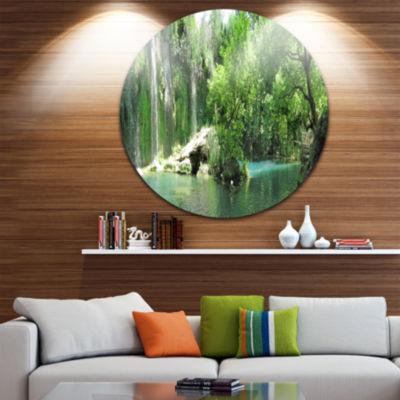 Design Art Waterfall Cascade in Deep Forest Landscape Round Circle Metal Wall Art