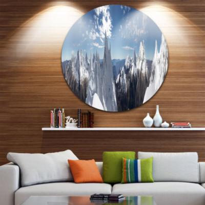 Design Art Beautiful Summit Panorama Landscape Round Circle Metal Wall Art