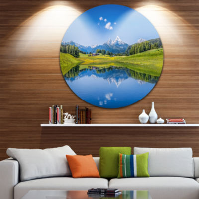 Design Art Summer with Clear Mountain Lake Landscape Round Circle Metal Wall Art