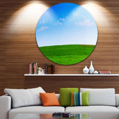 Design Art Green Meadow Panorama Landscape Round Circle Metal Wall Art