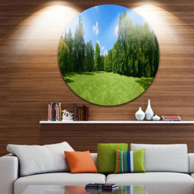 Design Art Green City Park Panorama Landscape Round Circle Metal Wall Art