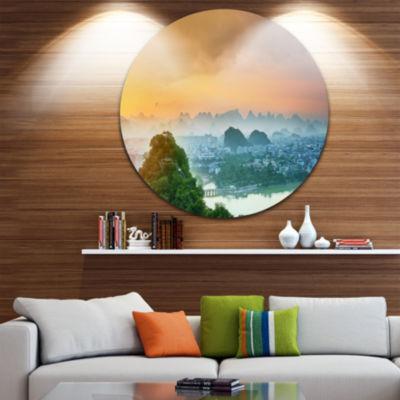 Design Art Li River and Karst Mountains LandscapeRound Circle Metal Wall Art