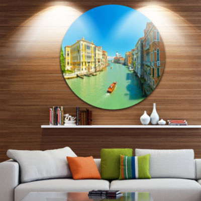 Design Art Green Grand Canal Venice Landscape Round Circle Metal Wall Art