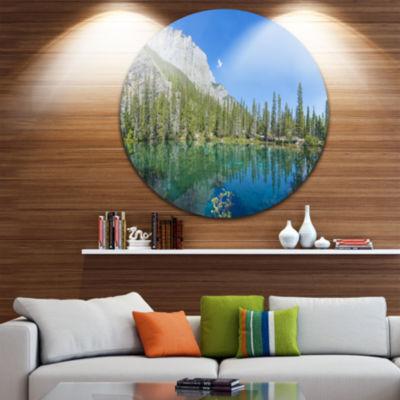 Design Art Grassi Lake Canmore Alberta Canada Landscape Round Circle Metal Wall Art
