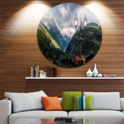 Design Art Lamp Posts in Mountain Panorama Landscape Round Circle Metal Wall Art