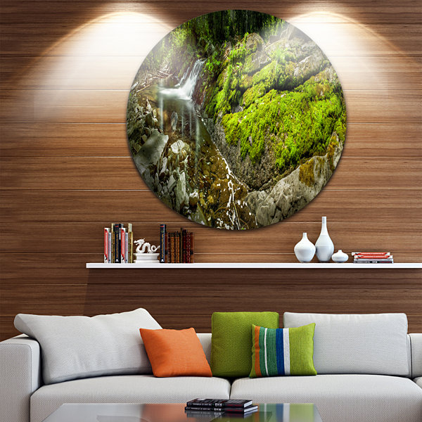 Design Art Creek Moss and Rocks Panorama LandscapeRound Circle Metal Wall Art