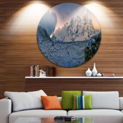 Design Art Kangchenjunga Panorama Landscape RoundCircle Metal Wall Art