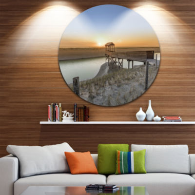 Design Art Watchtower at North Sea Dunes LandscapeRound Circle Metal Wall Art