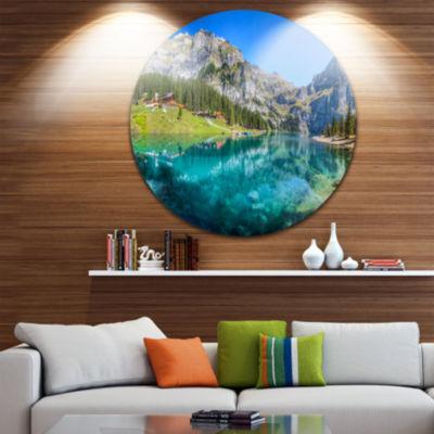 Design Art Lake Oeschinen Switzerland Landscape Round Circle Metal Wall Art