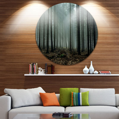 Design Art Gloomy Sunrays in Dark Forest LandscapeRound Circle Metal Wall Art