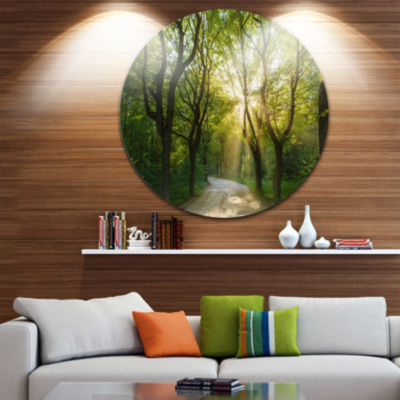 Design Art Evening in Green Forest Landscape RoundCircle Metal Wall Art