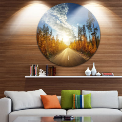 Design Art Road in Fall Forest Panorama LandscapeRound Circle Metal Wall Art