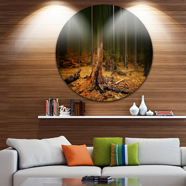 Design Art Dark Fall Forest on Foggy Morning Landscape Round Circle Metal Wall Art